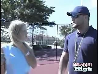 Blonde teen sucks her teachers cock after tennis