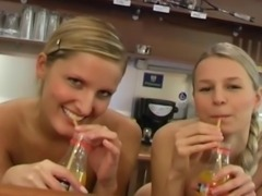 Seductive blonde lesbian teen angels fucking their petite shaved pussies with...