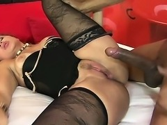 She screams while he fucks her Latina pussy