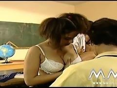 Naughty German schoolgirls fucked in the classroom