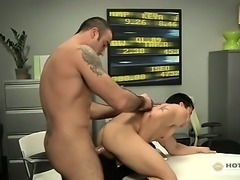 Muscled Man Spencer Overpowers AJ and Throws Him On The Desk