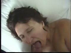 Milf talking, sucking and taking a load free