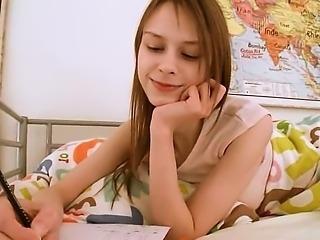 Teen schoolgirl doing cunt homework