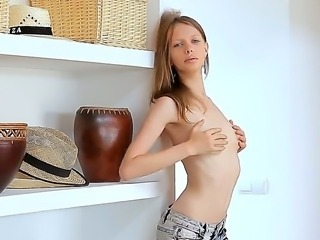 Mashing her own small boobs makes skinny Gloria longs for hardcore drilling