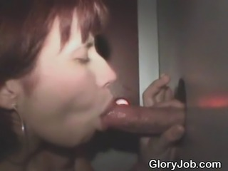 Red headed amateur girl sucking one dick after another and taking one facial at glory hole