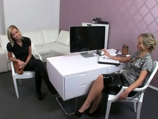 Hot blonde amateur after short interview with female agent strips off her clothes and with spread legs on couch gets pussy licked while wanking dick in threesome
