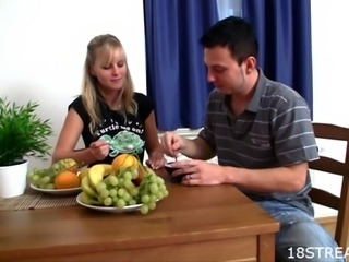 Lovely blonde gets her beaver fingered and drilled by stud