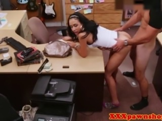 Hardcore pawnshop fuck with real latina doing it for the cash