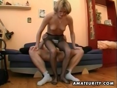 Hot amateur Milf masturbates, sucks and fucks with cum free
