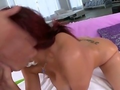 Nasty redhead milf Kelly Divine sucks a big dick and shows her big ass
