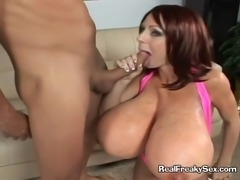 Lucky cock gets squeezed and buried between two massive mammaries and then...