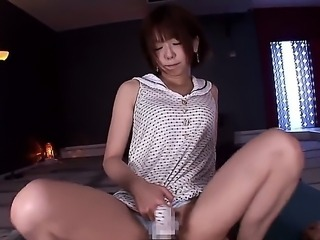 Innocent japanese Saki Ninomiya with small boobies and long legs in white...