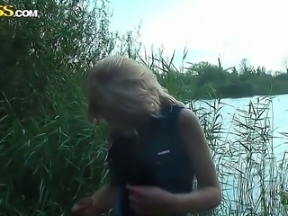 Blonde slut Betsy enjoys having sex and sucking cock in outdoor session
