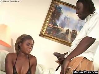 Horny dark-skinned chick taking big black cock deep in her throat