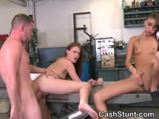Wild brunette amateur beauty riding dick in a garage during a money talks threesome