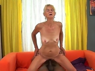 Skinny granny Beata A is delighted to have Franco Roccafortes huge black pecker to ride on