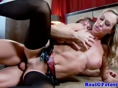 Busty blonde housewife milf takes facial from room service attendant