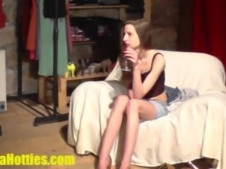 Hardcore CASTING for an aroused skinny teen