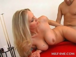 Erotic blonde mommy on heels pussy nailed hard in the pool table
