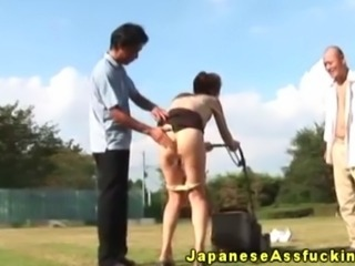 Japanese nippon anally fingered outdoor by lucky dude