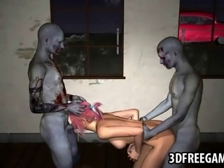 Jaw dropping 3D cartoon pink haired honey sucking on a zombies cock while...