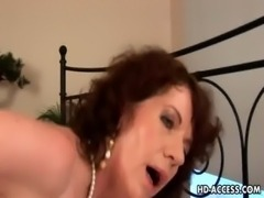 Wild cock gobbling brunette milf in action free