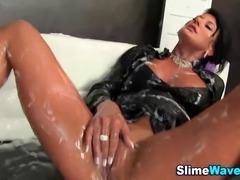 Glam slut fingering gets fake cum bukakke and gets wam in hd