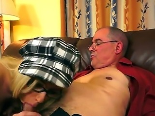 Kinky girl Nesty deepthroats thick hard cock of horny mature dude and gets...
