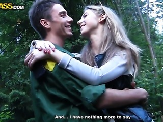 Blonde Megan asks her fuck buddy to shove his stiff worm in her mouth