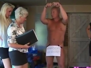 Fetish cfnm babes drain a dick with a granny