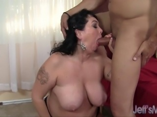 BBW Alexis Couture gets her fat cunt licked, and then sucks her man's big pecker. The guy then fucks her in missionary and doggie positions. Finally he jacks off in her mouth, and she spits it out.