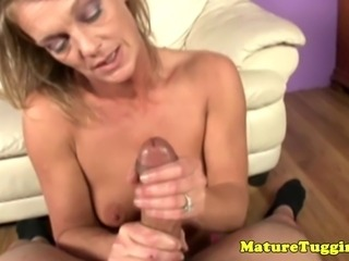 Old mom mature is jerking lucky guys dick POV
