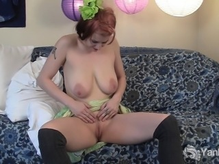 Seductive busty babe Bianca masturbating her pussy and toying her ass
