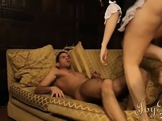 Lovely maid ridding her sweet busty butt on dick