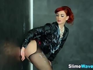Glam euro redhead in stockings sucks cock gets fake cum shower