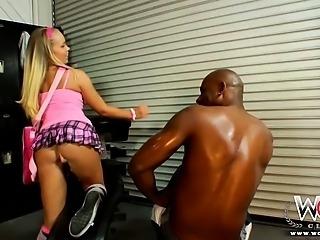 Sweet blonde teen Britney loves sucking black dick