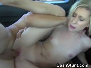 Slutty blonde amateur girl getting banged in the backseat of a car during a money talks stunt