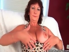 Granny with big tits finger fucks her hairy pussy free