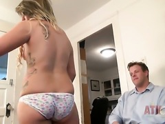 Blonde asian Casey Stone gets her mouth stretched by beefy rock hard man meat...