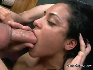 The bitch is tired from the rough gagging but will not stop for her natural love of cocks