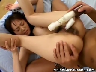 We have this naughty japanese babe in this clip as her man gets her horny. Watch as she gets stripped and brings out a vibrator and plays with our asian babes sweet juicy hairy pussy
