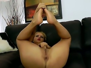 Crazy and horny Candy Alexa masturbating with her hands and feet and  having...