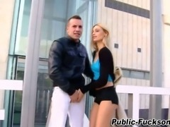 Blonde euro whore blowjob in coat and boats showing her tits in hd