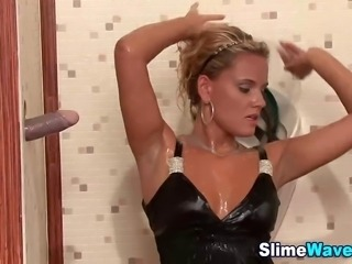 Glam slut sucking fake cock gets fake cum shower in hd