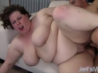 Luscious lard-ass Khloe Kanyon strips off and starts sucking this dude's...