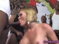 White gang bang babe deep throated by black meat and loving it