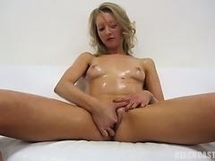 Sexy self Rubing Czech Blond Gril