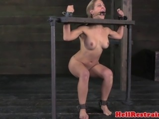 Mouth gagged blonde sub punished with whip then gets mouth gagged