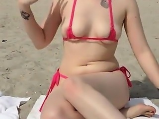 Girl Teasing Her Pussy At The Beach