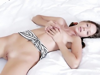 Mika with small tits and hairless snatch does striptease before she sticks...
